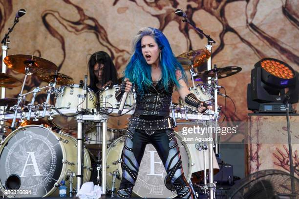 Daniel Erlandsson and Alissa WhiteGluz of the band Arch Enemy perform on stage during Day 1 of the Download Festival on June 28 2018 in Madrid