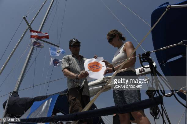 Daniel Evans and Merrilee Evans members of the Dutch organization Women on Waves can be seen on the group's abortion ship as it visits the Pez Vela...