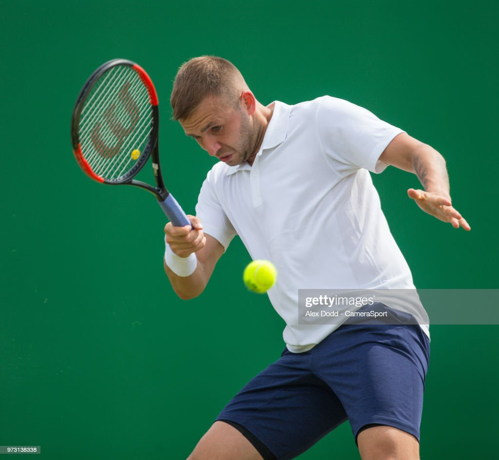 Daniel Evans in action during day 3 of the Nature Valley Open Tennis Tournament at Nottingham Tennis Centre on June 13, 2018 in Nottingham, England.
