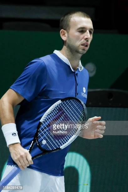 Daniel Evans of England during his second round singles match Semi-Finals played against Rafael Nadal of Spain during the Day 6 of the 2019 Davis Cup...