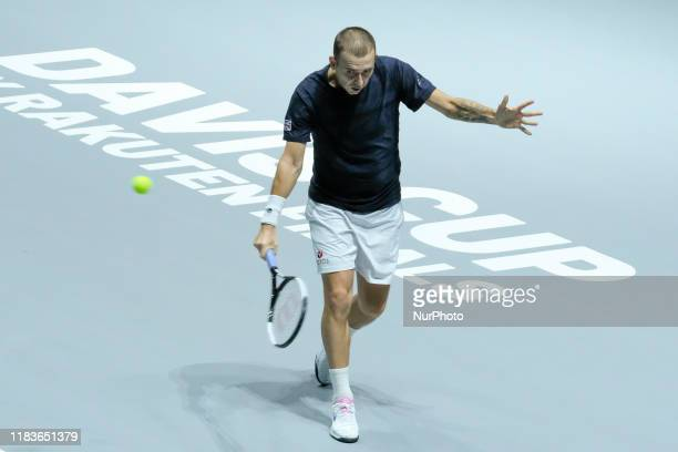 Daniel Evans of England in action during Day 3 of the 2019 Davis Cup at La Caja Magica on November 20, 2019 in Madrid, Spain