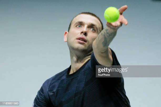 Daniel Evans of England in action during Day 3 of the 2019 Davis Cup at La Caja Magica on November 20 2019 in Madrid Spain
