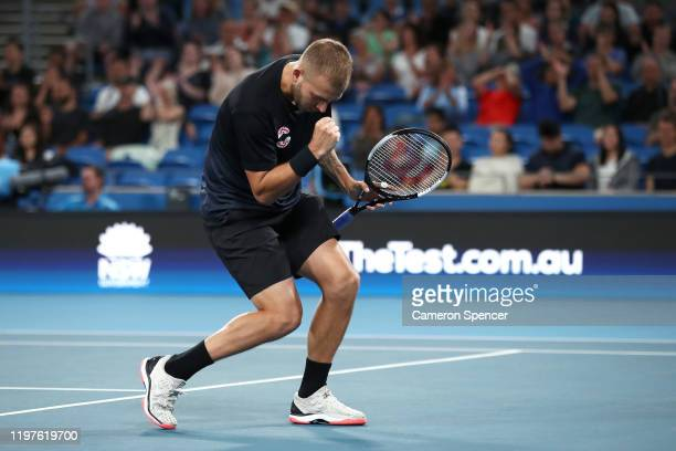 Daniel Evans of Great Britain celebrates a point during his Group C singles match against David Goffin of Belgium during day three of the 2020 ATP...