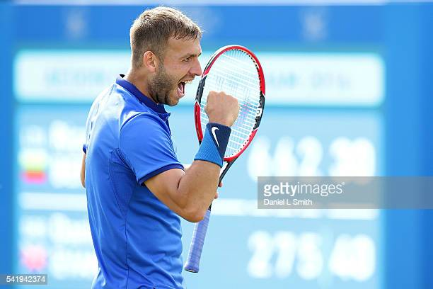 Daniel Evans of Great Britain celebrates after winning his men's singles match against Ricardas Berankis of Lithuania during day two of the ATP Aegon...