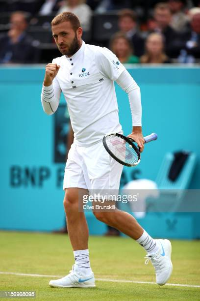 Daniel Evans of Great Britain celebrates during his First Round Singles Match against Stan Wawrinka of Switzerland during day Three of the Fever-Tree...