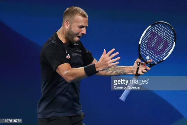 Daniel Evans of Great Britain celebrates match point during his Group C singles match against David Goffin of Belgium during day three of the 2020...