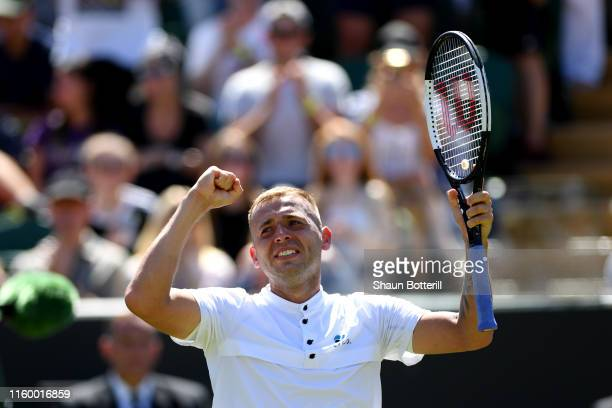 Daniel Evans of Great Britain celebrates victory in his Men's Singles second round match against Nikoloz Basiashvili of Georgia during Day four of...