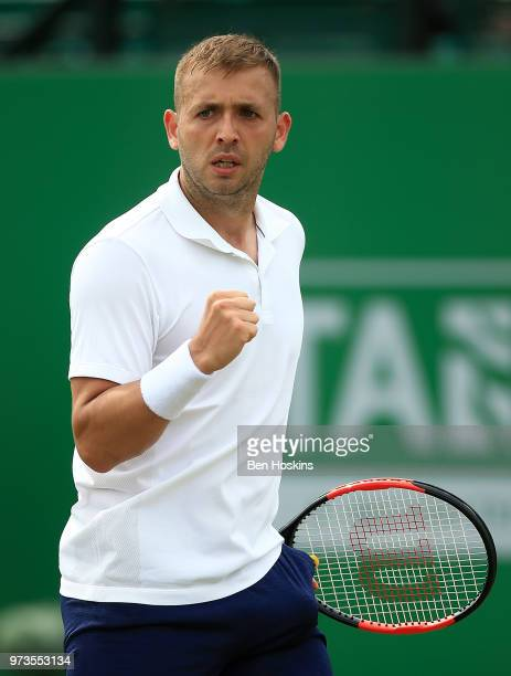 Daniel Evans of Great Britain celebrates winning a point during his second round match against Sergiy Stakhovsky of Ukraine on during Day Five of the...