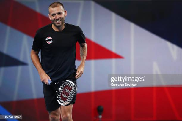 Daniel Evans of Great Britain celebrates winning his Group C singles match against David Goffin of Belgium during day three of the 2020 ATP Cup Group...