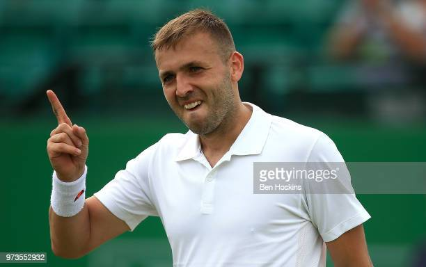 Daniel Evans of Great Britain celebrates winning his second round match against Sergiy Stakhovsky of Ukraine on during Day Five of the Nature Valley...