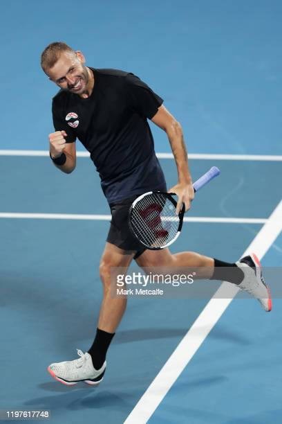 Daniel Evans of Great Britain celebrates winning match point during his Group C singles match against David Goffin of Belgium during day three of the...