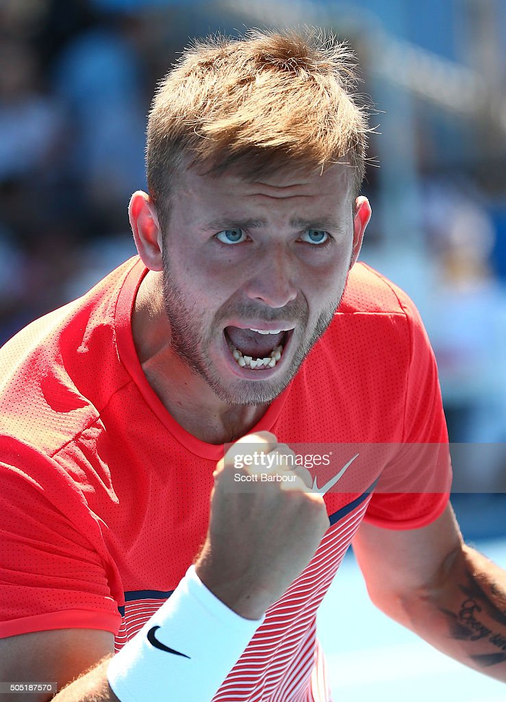 Daniel Evans of Great Britain celebrates winning match point to defeat Bjorn Fratangelo of the United States during the third round of 2016 Australian Open Qualifying at Melbourne Park on January 16, 2016 in Melbourne, Australia.