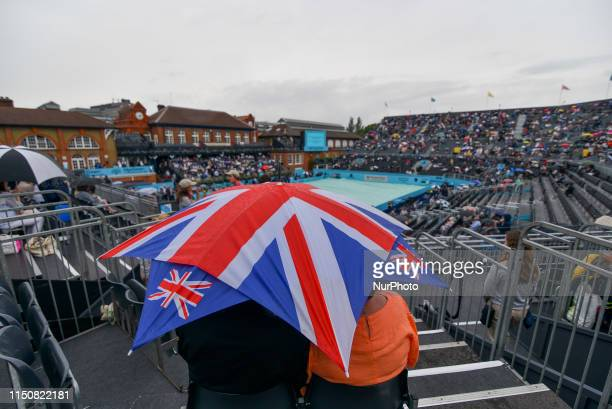 Daniel Evans of Great Britain is pictured in action during day three of ATP FeverTree Championships tennis tournament at Queen's Club in west London...