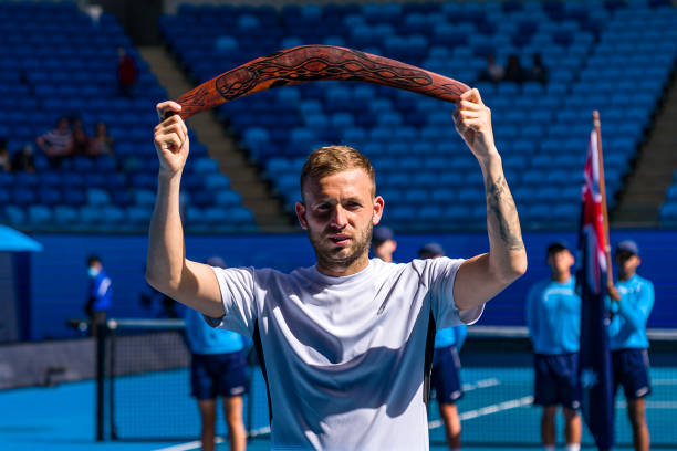 Daniel Evans of Great Britain poses with the trophy following the Men's SinglesFinal match against Felix Auger-Aliassime of Canada during day seven...