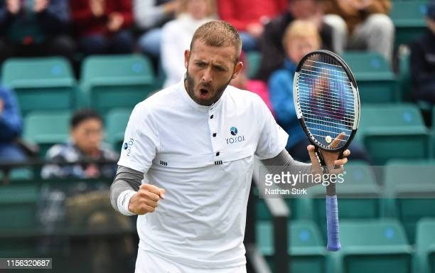 Daniel Evans of Great Britain reacts in the final match against Evgeny Donskoy of Russia during day seven of the Nature Valley Open at Nottingham...