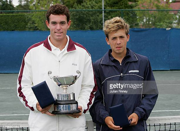 Daniel Evans runner up in the boys U18 final during the LTA Junior Tennis Championships at The West Hants Tennis Club on August 19 2005 in...