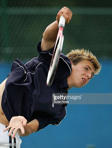 Daniel Evans serves in the boys U18 final during the LTA Junior Tennis Championships at The West Hants Tennis Club on August 19 2005 in Bournemouth...