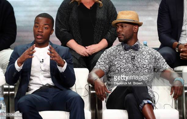 Daniel Ezra and Taye Diggs from All American speaks onstage at the CW Network portion of the Summer 2018 TCA Press Tour at The Beverly Hilton Hotel...