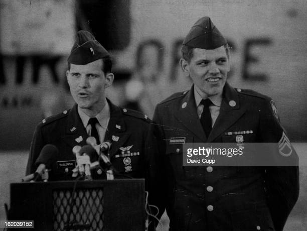 Daniel F Maslowski Left Speaks to Crowd At Buckley Looking on is S Sgt Gary J Guggenberger who demonstrates his happiness Vietnam * US Troops *...