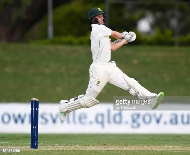 Daniel Fallins of the CA XI bats during the four day tour match between Cricket Australia XI and England at Tony Ireland Stadium on November 15 2017...