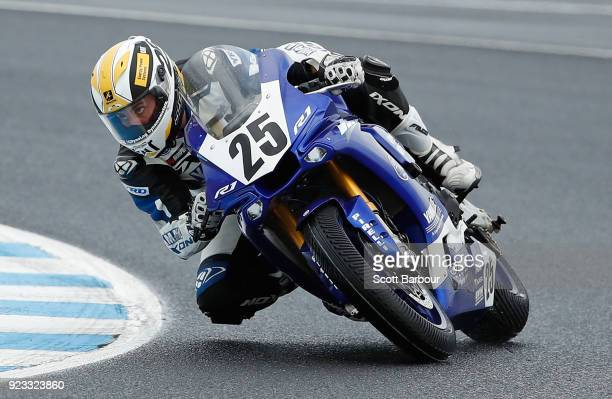Daniel Falzon of Australia and Yamaha Racing Team rides in the FIM Superbike World Championship Free Practice session ahead of the 2018 Superbikes at...