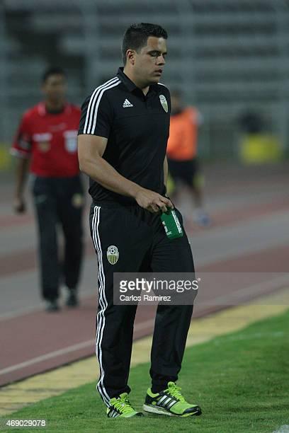 Daniel Farias coach of Deportivo Tachira looks on during a match between Deportivo Tachira and Sporting Cristal as part of Copa Bridgestone...