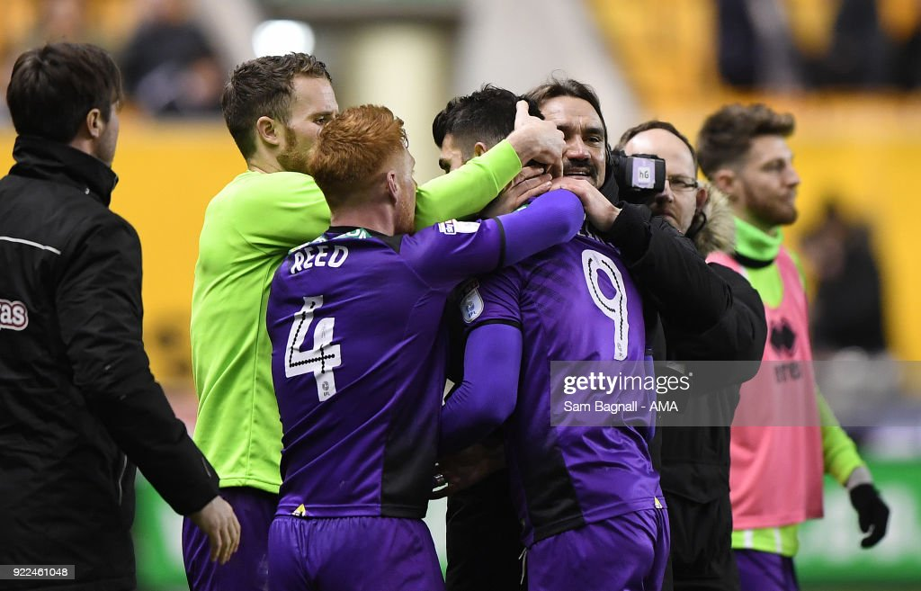 Daniel Farke manager / head coach of Norwich City celebrates with goalscorer Nelson Oliveira of Norwich City during the Sky Bet Championship match between Wolverhampton Wanderers and Norwich City at Molineux on February 20, 2018 in Wolverhampton, England.