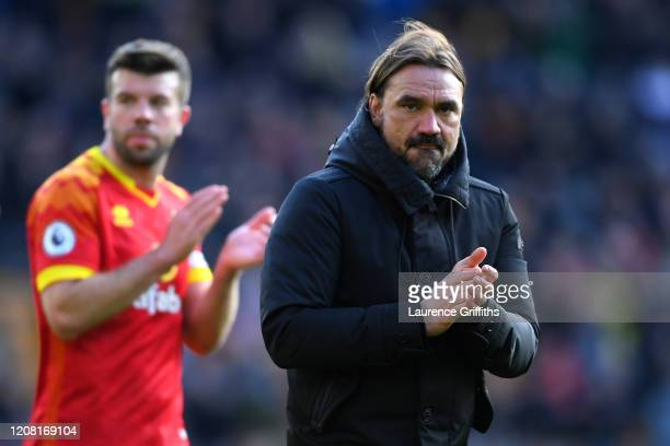 Daniel Farke, Manager of Norwich City acknowledges the fans following the Premier League match between Wolverhampton Wanderers and Norwich City at...