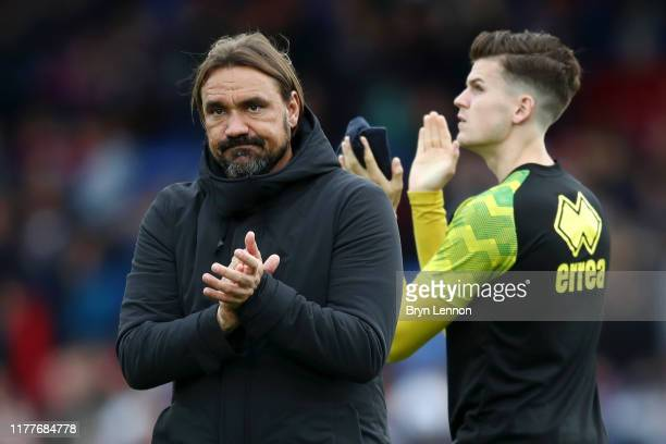 Daniel Farke, Manager of Norwich City applauds fans after following the Premier League match between Crystal Palace and Norwich City at Selhurst Park...