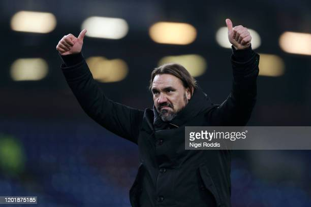 Daniel Farke, Manager of Norwich City applauds fans after his sides victory in the FA Cup Fourth Round match between Burnley FC and Norwich City at...