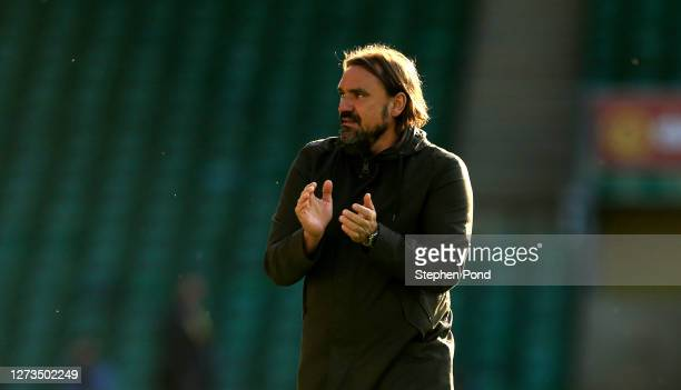 Daniel Farke, Manager of Norwich City applauds fans after the Sky Bet Championship match between Norwich City and Preston North End at Carrow Road on...