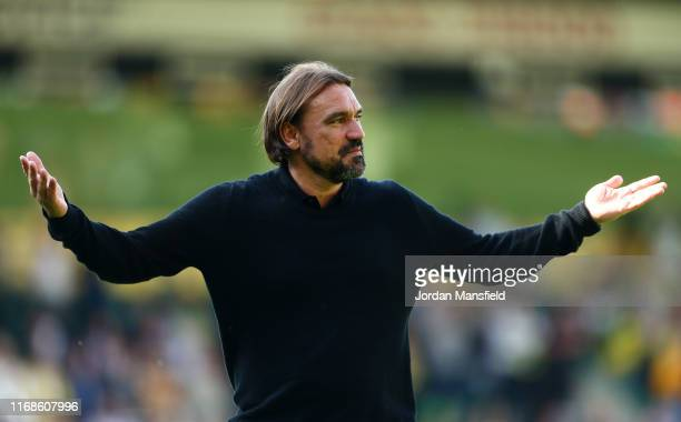 Daniel Farke, Manager of Norwich City celebrates following his sides victory in the Premier League match between Norwich City and Newcastle United at...