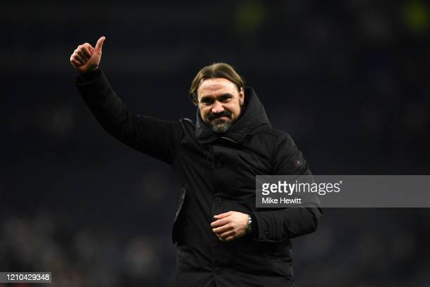Daniel Farke, Manager of Norwich City celebrates following his sides victory after the FA Cup Fifth Round match between Tottenham Hotspur and Norwich...