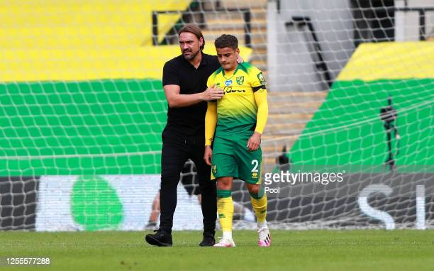 Daniel Farke, Manager of Norwich City consoles Max Aarons of Norwich City following the Premier League match between Norwich City and West Ham United...