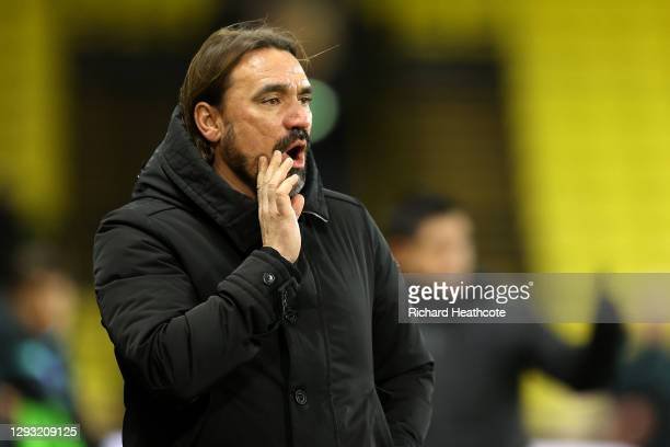 Daniel Farke, Manager of Norwich City gives his team instructions during the Sky Bet Championship match between Watford and Norwich City at Vicarage...