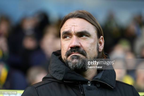 Daniel Farke, Manager of Norwich City looks on during the Premier League match between Norwich City and Sheffield United at Carrow Road on December...