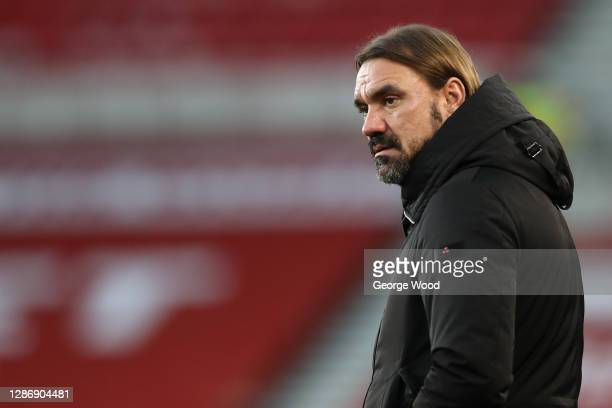 Daniel Farke, Manager of Norwich City looks on during the Sky Bet Championship match between Middlesbrough and Norwich City at Riverside Stadium on...