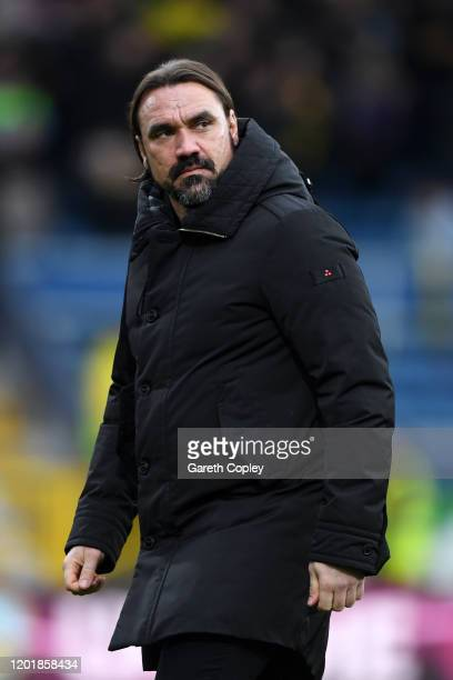 Daniel Farke, Manager of Norwich City looks on prior to the FA Cup Fourth Round match between Burnley FC and Norwich City at Turf Moor on January 25,...