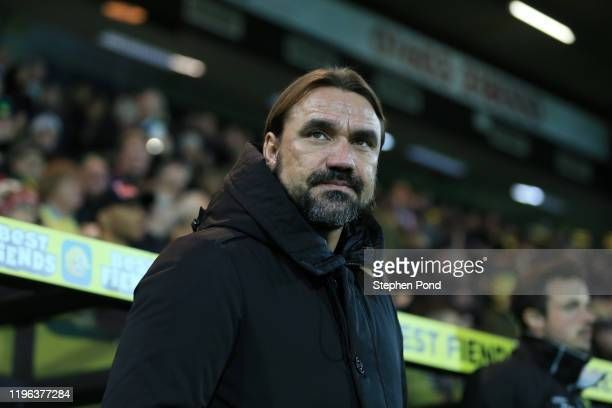 Daniel Farke, Manager of Norwich City looks on prior to the Premier League match between Norwich City and Tottenham Hotspur at Carrow Road on...