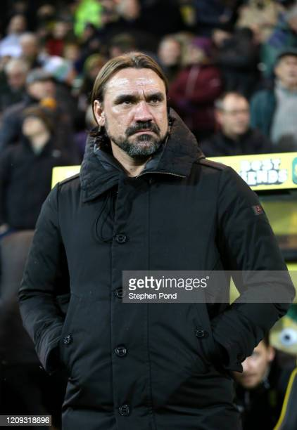 Daniel Farke, Manager of Norwich City looks on prior to the Premier League match between Norwich City and Leicester City at Carrow Road on February...