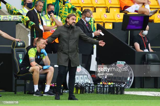 Daniel Farke, Manager of Norwich City reacts during the Premier League match between Norwich City and Burnley FC at Carrow Road on July 18, 2020 in...