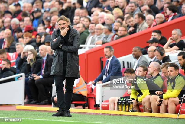 Daniel Farke, Manager of Norwich City watches his side during the Premier League match between Liverpool FC and Norwich City at Anfield on August 09,...