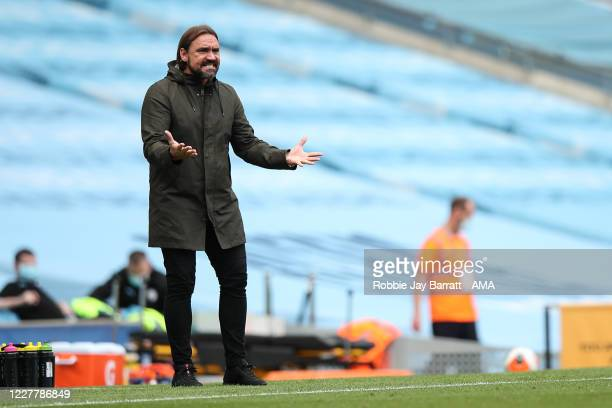 Daniel Farke the head coach / manager of Norwich City gestures during the Premier League match between Manchester City and Norwich City at Etihad...