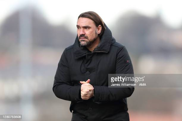 Daniel Farke the manager \ head coach of Norwich City during The Emirates FA Cup Fourth Round match between Barnsley and Norwich City at Oakwell...