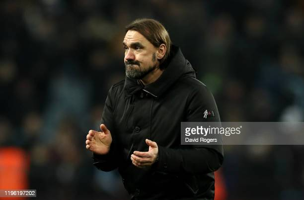 Daniel Farke, the Norwich City manager looks on during the Premier League match between Aston Villa and Norwich City at Villa Park on December 26,...