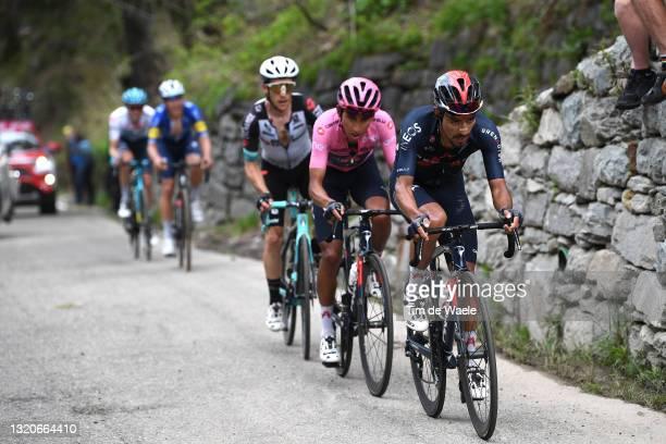 Daniel Felipe Martinez Poveda of Colombia and Team INEOS Grenadiers, Simon Yates of United Kingdom and Team BikeExchange & Egan Arley Bernal Gomez of...