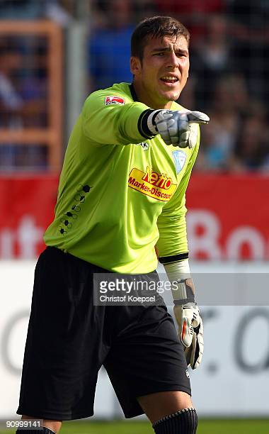 Daniel Fernandes of Bochum issues instructions to the team during the Bundesliga match between VfL Bochum and FSV Mainz at Rewirpower Stadium on...