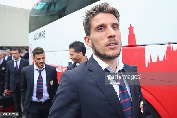 Daniel Filipe Martins Carrico of Sevilla FC arrives at the Turin airport Sandro Pertini with his wife Melanie Trochowski prior to the UEFA Europa...