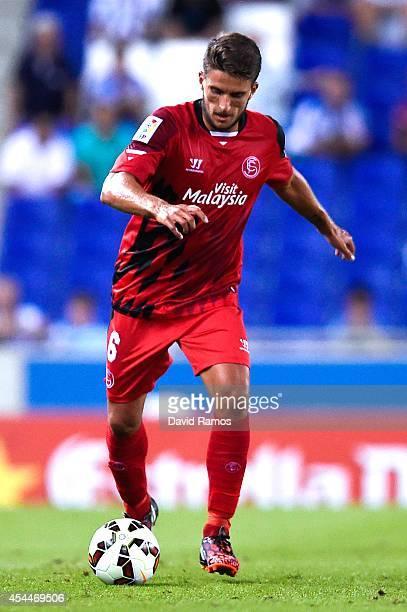 Daniel Filipe Martins Carrico of Sevilla FC runs with the ball during the La Liga Match between RCD Espanyol and Sevilla FC at CornellaEl Prat...