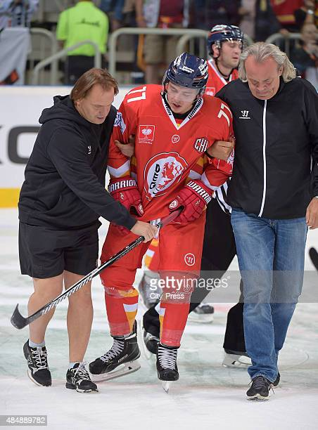 Daniel Fischbuch of the Duesseldorfer EG is hurt during the game between Duesseldorfer EG and Black Wings Linz on August 22 2015 in Duesseldorf...
